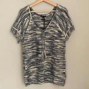 MASSIMO DUTTI knit tunic top with tassels NWT